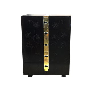 Max Kuehne Style Floral Incised Tall Chest of Drawers For Sale
