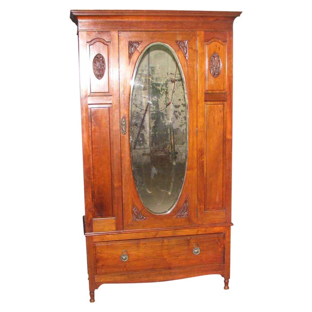 Early American Carved Cherry Armoire With Beveled Mirror For Sale