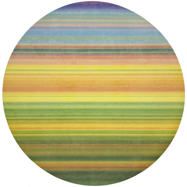 """Contemporary Nicolette Mayer Gradient Yellows 16"""" Round Pebble Placemats, Set of 4 For Sale - Image 3 of 3"""