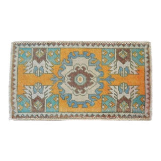 Distressed Low Pile Turkish Yastik Petite Rug Hand Knotted Faded Mat - 19'' X 33'' For Sale