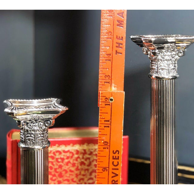 Early 21st Century Godinger Corinthian Column Silverplated Candle Holders - a Pair For Sale - Image 5 of 10