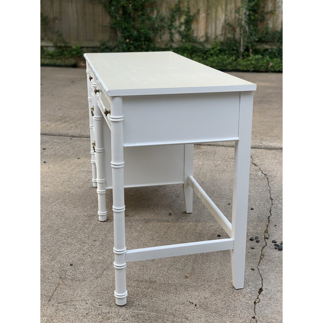 White 1970s Hollywood Regency Thomasville Allegro Faux Bamboo Writing Desk For Sale - Image 8 of 12
