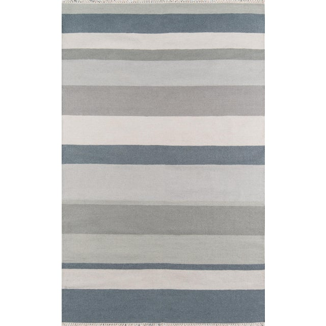 """2010s Erin Gates Thompson Brant Point Grey Hand Woven Wool Area Rug 5' X 7'6"""" For Sale - Image 5 of 5"""