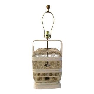 1970s Off-White Nantucket Basket Lamp For Sale