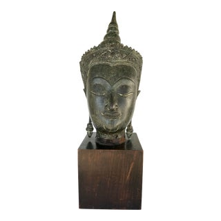 Antique Bronze Buddha Head Statue For Sale