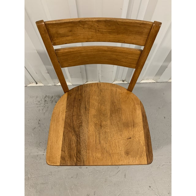 1950s Vintage High Point Bending & Chair Co. Solid Oak School Chair For Sale - Image 5 of 8