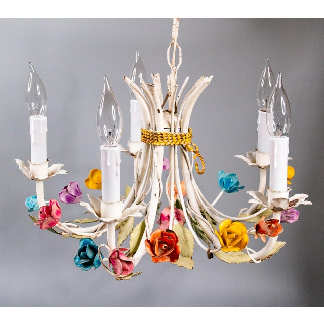 "Mid-20th century Italian tole five-arm floral chandelier. It still retains the original ""Made In Italy"" metal tag. This..."