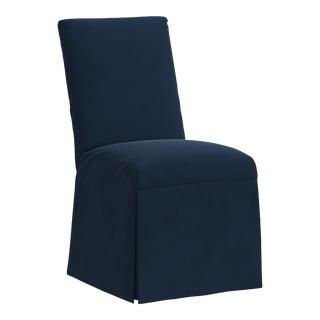 Slipcover Dining Chair in Velvet Ink For Sale