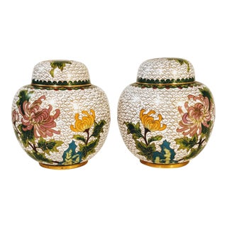 Vintage Chinese Cloisonne White Chrysanthemum Enameled Ginger Jar - a Pair For Sale