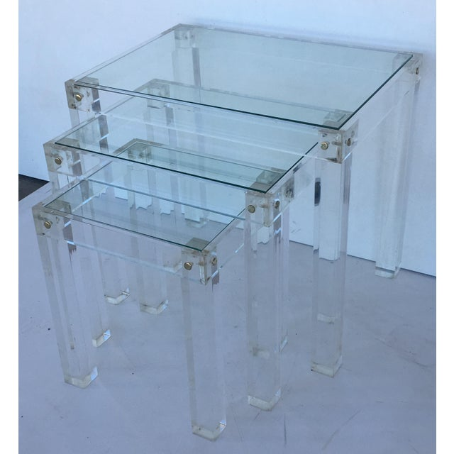 Set of Vintage Lucite and Glass Nesting Tables For Sale - Image 4 of 10