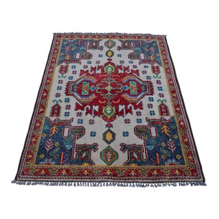"""Hand Knotted Afghan Rug - 4'11"""" x 6'7"""""""
