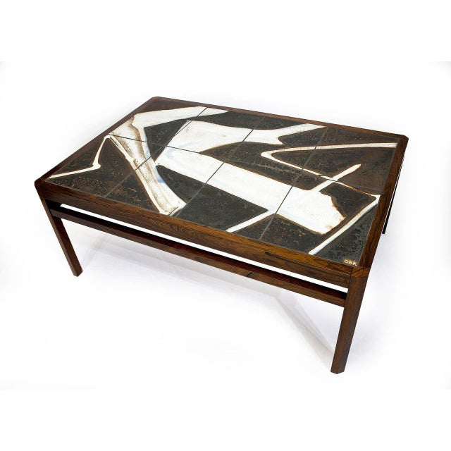 Danish Rosewood Abstract Tile Coffee Table - Image 2 of 10