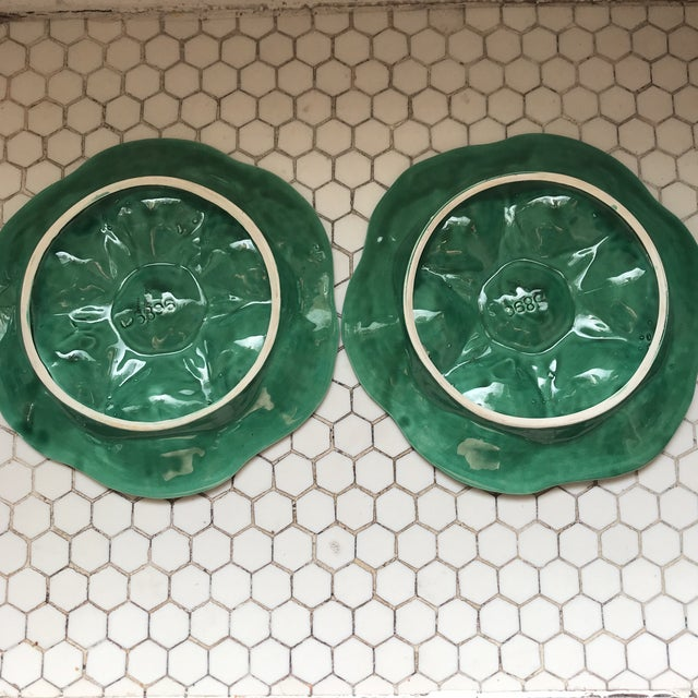Ceramic Green French Glazed Oyster Plates-Pair For Sale - Image 7 of 11