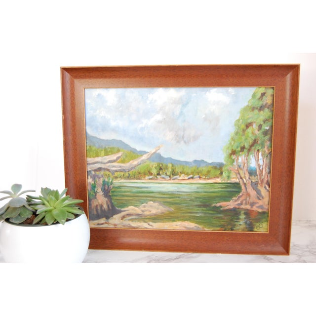 1960s Vintage Lakeside Original Oil on Canvas Painting For Sale - Image 5 of 10