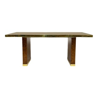 Elegant 1970s Signed Pierre Cardin Olive Burl and Brass Extension Dining Table or Desk For Sale