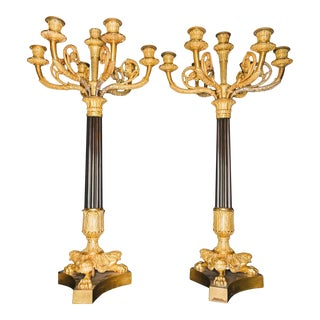 19th Century Charles X Period Empire Gilt Bronze Candelabras- a Pair For Sale