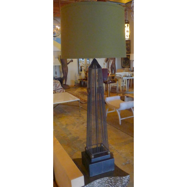 Monumental European obelisk lamp. Rewired with new electrical hardware.