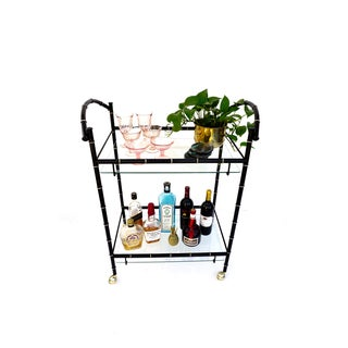 Vintage Faux Bamboo Bar Cart || Hollywood Regency Two-Tier Black & Gold Metal Rolling Server || Chinoiserie Chic Versatile Cocktail Cart Preview
