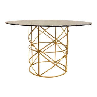 Worlds Away Modern Geometric Gold Finished Metal and Beveled Glass Jackson Dining Table For Sale