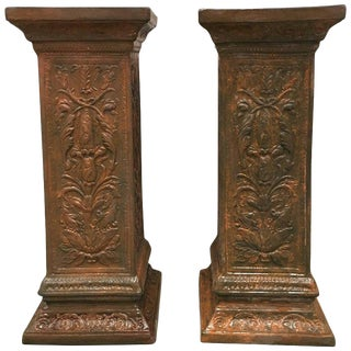 19th Pair of Columns or Pedestals in Glazed Handmade Terracotta For Sale