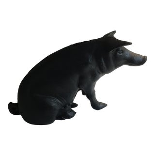 Antique Cast Iron Pig Bank and Door Stop For Sale