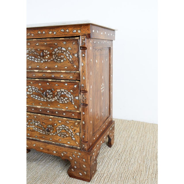 Moorish Pearl Inlay Carved Wedding Chest of Drawers For Sale - Image 11 of 13