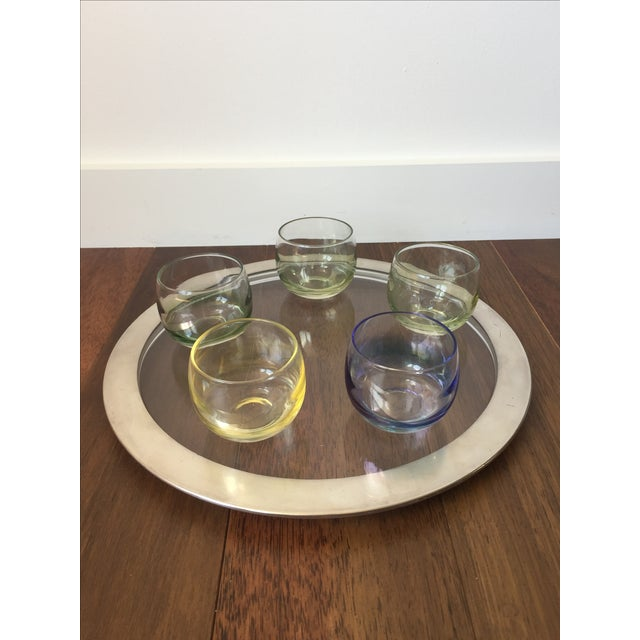 Silver Trim Tray & Multicolor Glasses - S/6 - Image 2 of 5