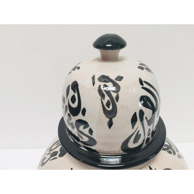Large Moroccan glazed ceramic urn with lid from Fez. Moorish style ceramic handcrafted and hand painted with Arabic...
