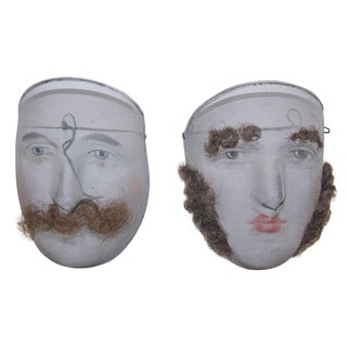 Pair of 1900 Decorative Wire Mesh Carnival Masks