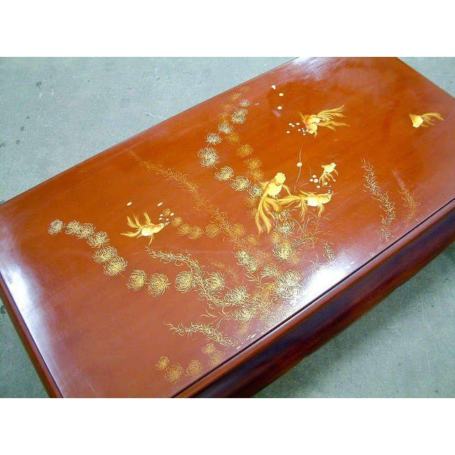 Asian 1972 Viet Nam Thanhle Cinnabar Lacquered Wood Goldfish Coffee Table For Sale - Image 3 of 12