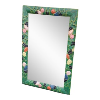 Folk Art Hand-Carved Rectangle Mirror For Sale