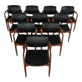 1960s Mid-Century Modern Set of Ten Fully Restored Erik Buch Model 67 Captains Chair in Teak Inc. Reupholstery For Sale