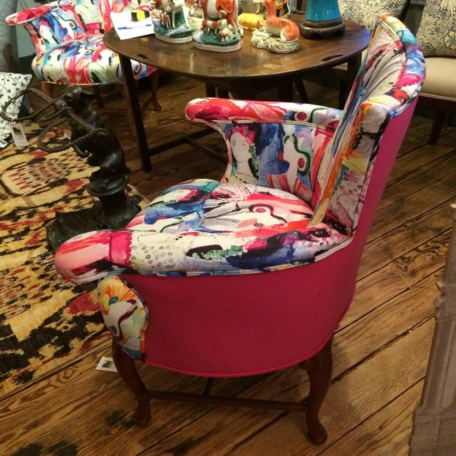 Oly Silkscreened Armchairs - Pair - Image 2 of 5