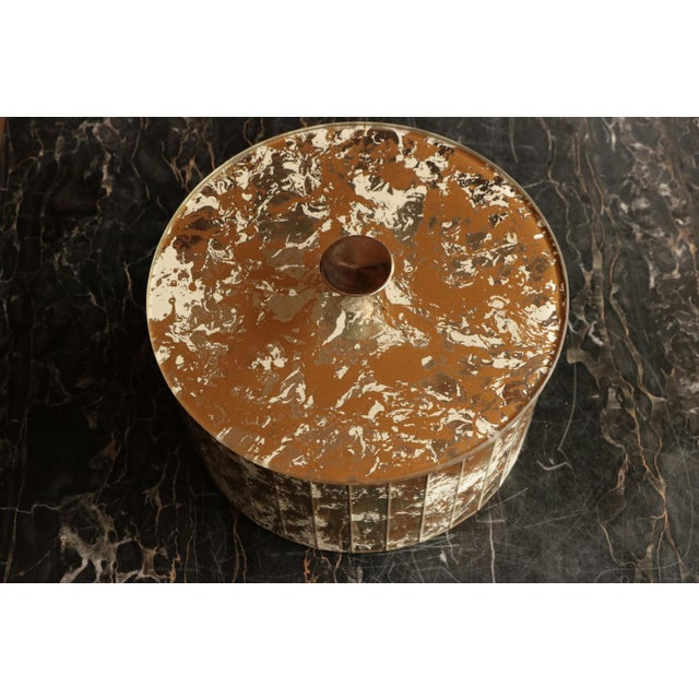 Marbled Golden Swirl Mirrored Box For Sale - Image 5 of 10