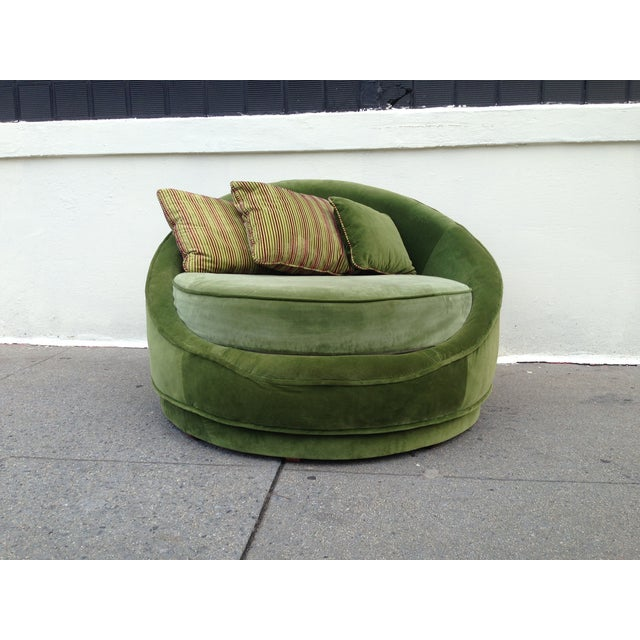 Milo Baughman Emerald Green Swivel Loveseat - Image 8 of 8