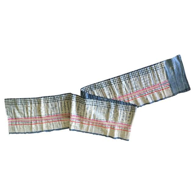 Vintage Batik Hmong Textile Hemp Indigo Runner - Image 1 of 6