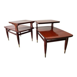 Mid Century Modern Two Tier End Tables a Pair For Sale