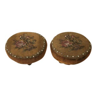 Antique English Lady's Beaded Footstools - A Pair For Sale