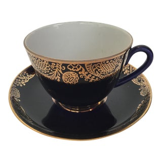 Russian Lomonosov Imperial Porcelain Teacup & Saucer For Sale