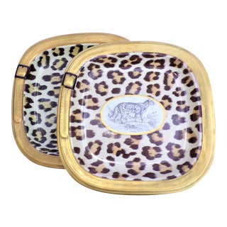 (Final Markdown) Vintage Italian Mottahedeh Leopard Plates - a Pair For Sale