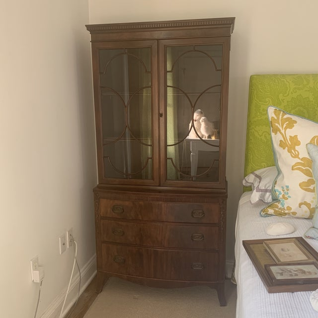 Antique Mahogany China Display Cabinet For Sale - Image 13 of 13