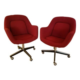 Mid Century Knoll Red Office Chairs on Casters - a Pair