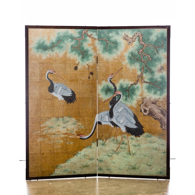 """Japanese Style 2-Panel """"Cranes at Rest"""" Hand-Painted Gold Foil Screen by Lawrence & Scott For Sale - Image 11 of 11"""
