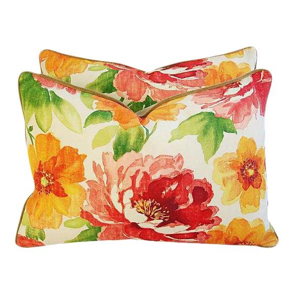 "Custom Floral & Scalamandre Velvet Feather/Down Pillows 26"" X 18"" - Pair For Sale"