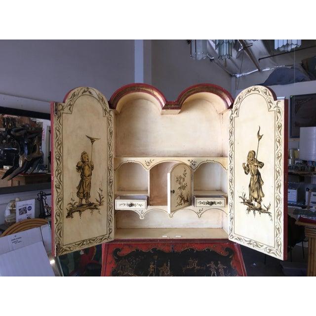 Wood Chinese Motif Hollywood Regency Secretary Desk Secretaire Bookcase For Sale - Image 7 of 11