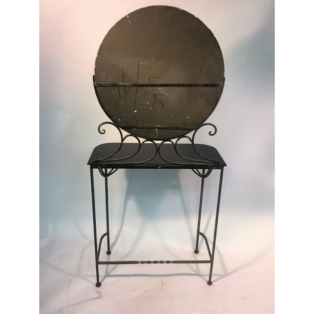 Glass BEAUTIFUL ART DECO WROUGHT IRON VANITY AND CHAIR BY FERRO BRANDT For Sale - Image 7 of 11