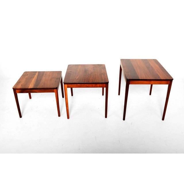 Drexel Set of 3 Kipp Stewart for Drexel Walnut Nesting Tables For Sale - Image 4 of 5