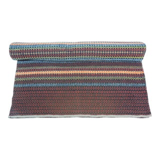 Vintage Handwoven Swedish Multi-Color Flat-Weaved Striped Runner For Sale