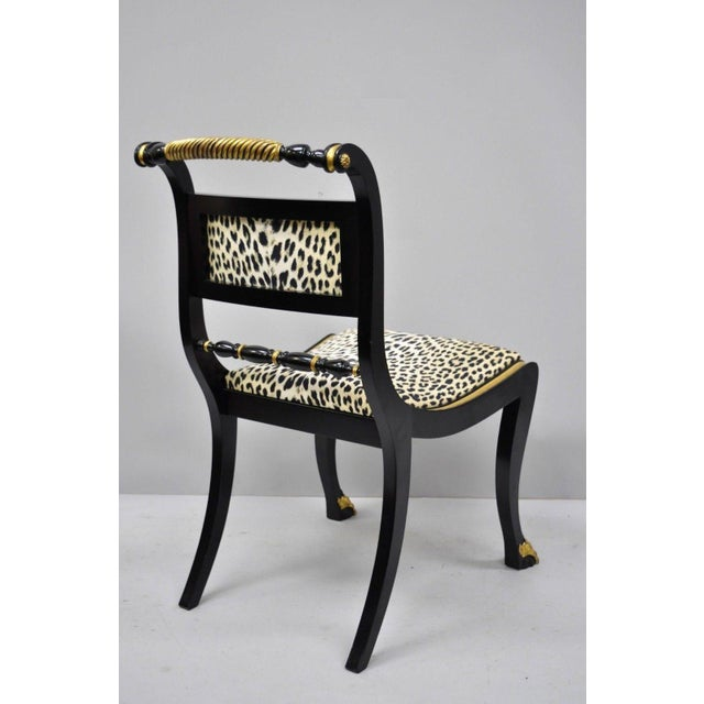 Black and Gold Regency Style Paw Feet Dining Chairs - Set of 6 For Sale - Image 10 of 12