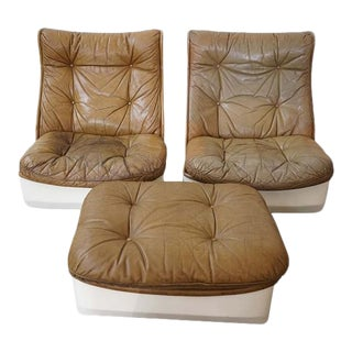 Pair of Leather Chairs and Single Ottoman, Sold as a Set For Sale